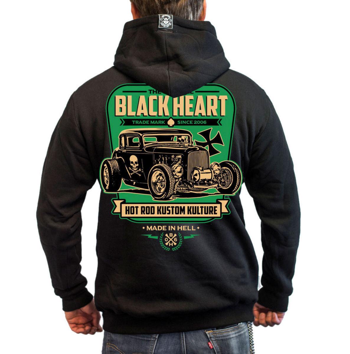 kapucnis pulóver férfi YELLOW BOY HOT ROD BLACK HEART