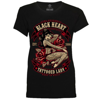utcai póló női - TATTOED LADY - BLACK HEART, BLACK HEART