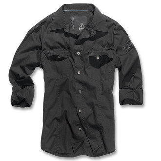 ing férfi Brandit - Men Shirt Slim - Black, BRANDIT