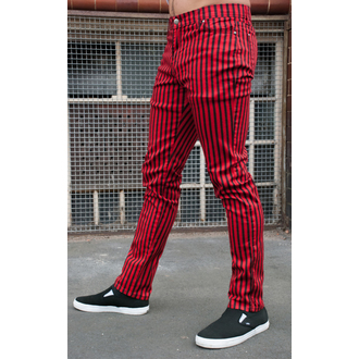 3RDAND56th férfi nadrág - Striped Skinny Jeans - Black / Red - JM1176