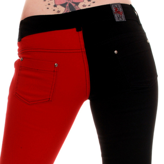 nadrág női 3RDAND56th - Split Leg Skinny Jeans - Black / Red - JM1139