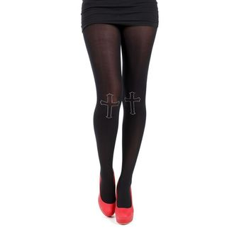 harisnyanadrág PAMELA MANN - 80 Denier Tights With Cross On Knee-Black - 013