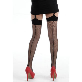 térdzokni PAMELA MANN - Fishnet Seamed Stockings - Black