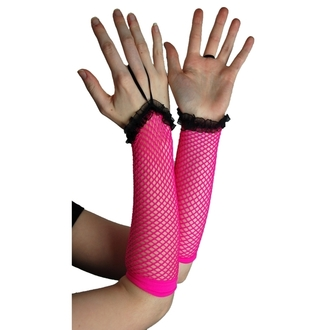 ujj POIZEN INDUSTRIES - NLLG Long Fishnet Lace Trim - Pink