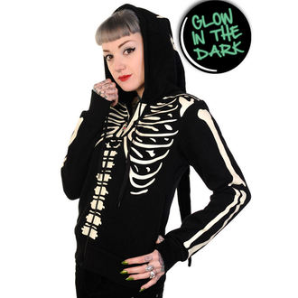 kapucnis pulóver női - Glow In The Dark Skeleton - BANNED - HBN017