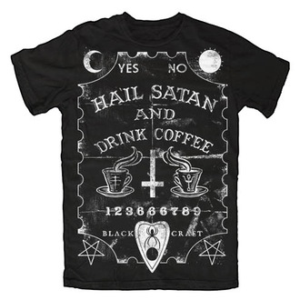 póló férfi női unisex - Hail Satan & Drink Coffee - BLACK CRAFT - MT014HE