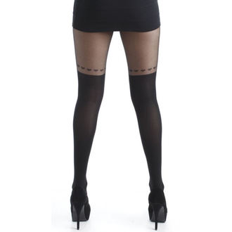 harisnyanadrág PAMELA MANN - Over The Knee Hearts Tights - Black - 111