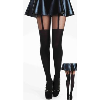 harisnyanadrág PAMELA MANN - Plain Stripe Suspender Tights - Black - 091