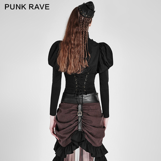 PUNK RAVE női ing - Queen of hearts - Black, PUNK RAVE