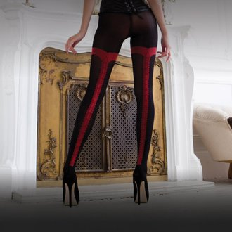 LEGWEAR harisnya- charley opaque - black with red seam - OHVCTG2BL1